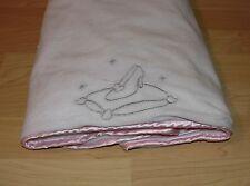 "Disney Baby Cinderella Glass Slipper Plush Blanket Towel 30""x28"" White Pink Spot"