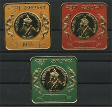 BHUTAN, KING WANGCHUCK 3 DIFFERENT GOLD FOIL STAMPS IN SQUARE FORMAT MNH