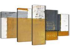 XL Arancione Grigio Tela Pittura Astratta Art Print - 5 Panel-larghezza 160 cm - 5341