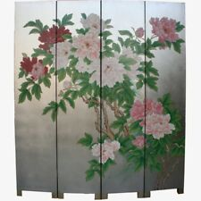 Oriental Screen - Peony on Silver Leaf Background Room Divider (SN4-PEONY-S)