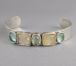 Vintage Desert Rose Trading DRT Sterling Silver Quartz Stones Bracelet