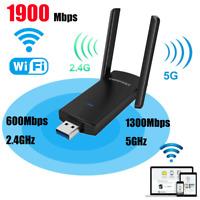 1900Mbps Long Range AC1900 Dual Band 5G Wireless USB 3.0 WiFi Adapter w/Antenna