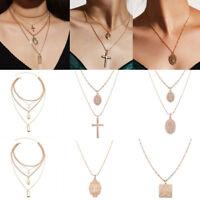 Jesus Cross Necklace Multi Layer Chain Triple Charm Drop Pendant Choker Boho