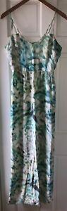 Parker Green Watercolor Print Maxi Strappy Dress
