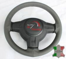 FOR FORD ASPIRE 96-97 GREY LEATHER STEERING WHEEL COVER, GREY STIT