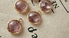 Round jewel charms pale purple rose gold jewellery supplies C218