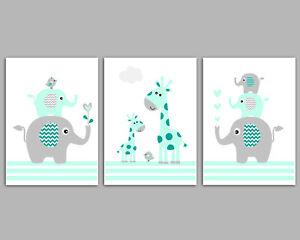 Elephant Nursery Art / Set Of 3 Prints