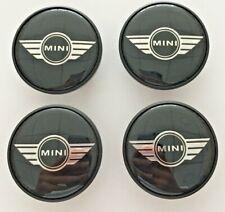 4X MINI WINGS LOGO ALLOY WHEEL CENTRE/HUB CAPS BADGE BLACK 54mm COOPER ONE