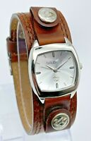 Ladies BILLABONG Jasmine Brown Leather Cuff Watch, Date, Silver Tone, BB1044