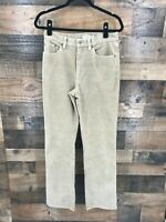 LL Bean Women's Tan Corduroy Flat Front Stretch Pants Size 8