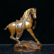 Collectable Handwork Boxwood Carving Horse Carry Leg Precious Auspicious Statue