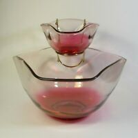 Indiana Glass Vintage MCM Ruby Tri-Top Chip & Dip Bowl Set 0519 Red Fade Bowls