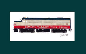 """Napa Valley Wine Train FPA4 #70 11""""x17"""" Matted Print Andy Fletcher signed"""
