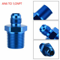 1PC AN6 TO 1/2NPT ORB-6 Straight Fuel Oil Air Hose Fitting Male Adapter Blue GB