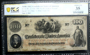 T-41 $100 1862 Confederate Currency CSA PCGS 35 CHOICE VERY FINE PF22  R4