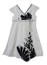 Girls Monsoon White Black Floral Embroidered Cap Sleeve Dress Age 5-6 Years
