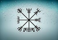 Sticker icelandic magical staves symbol viking compass runic car Vegvísir r2