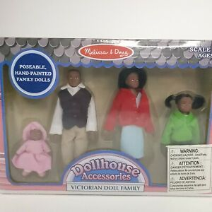 Melissa & Doug Victorian Dollhouse Doll Family African American Poseable Figures