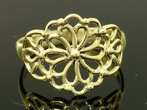 R011 Lovely Genuine 9ct Solid Gold Filigree Blossom Flower Ring in your size