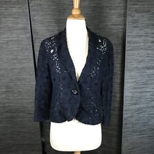 ANTHROPOLOGIE Tabitha Delphinium Navy Blue Lace Blazer Single Button Jacket Sz 6