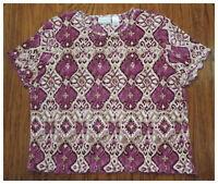 Women's ALFRED DUNNER Purple Beige Short Sleeve Blouse Top Shirt Size PXL B2 EUC