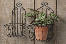 2 Wandblumentopfhalter Wandkorb Blumentopfhalter schwarz Metall Eisen Topfhalter