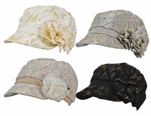 Crochet Ladies Lace Net Flower Bow Glitter / Plain Peak Cloche Lined Cap Hat
