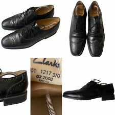 CLARKS Size 10 45 Black Leather Wing Tip Square Toe Lace-Up Brogues Mens Preppy