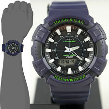 Casio ADS800WH-2A Mens Blue 200M Tough Solar Watch 5 ALARMS Chronograph New