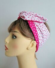 RockabillyPink Flamingo Print Wide or Narrow Wired Headband reverse Pink Bows