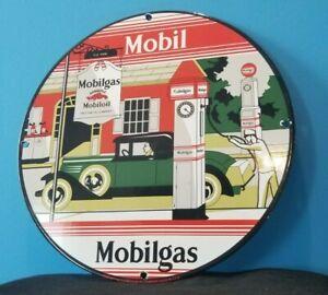 VINTAGE MOBIL MOBILGAS PORCELAIN GARGOYLE GAS SERVICE STATION PUMP PLATE SIGN
