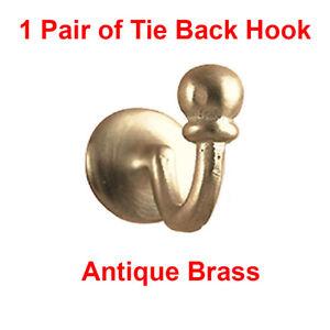 Palma Tie Back Hooks~Curtain Tie Back~Tassel Wall Hooks~Ball End Antique Brass