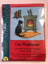 MOUSELOFT STITCHLETS CROSS STITCH KIT ~ COSY WOODBURNER ~ CHRISTMAS ~ NEW