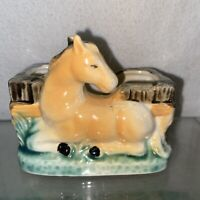 VTG Mid-Century JAPAN Pottery BUCKSKIN Horse Planter Vase BUSINESS CARD Holder