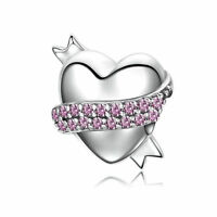 925 Sterling Silver Pink CZ Love Heart European Charm Bead fit Bracelet Chain