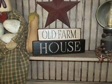 Wood Prim Sign OLD FARMHOUSE Country Rustic Shelf Sitter Block HOME Decor Sign
