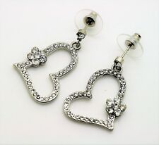 C333  Cute Design heart shape Rhodium Plated Clear Fashion Drop Dangle Earring