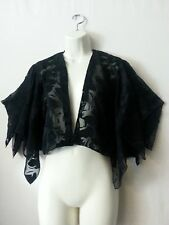 Boho Bolero Top Short Open Black Sheer Floral Lace Angel Layers Sleeve S to M