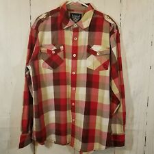 Akademiks Mens Button Front Shirt Sz XL Long Sleeve Plaid Red Gray w/ Epaulets