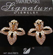Signed Swan Swarovski Pave Clear Crystal Orchid Pierced Earrings