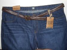 Union Blues Men's Loose Fit Blue Denim Jeans ( LARGE ) W48 L31 With Belt - NEW