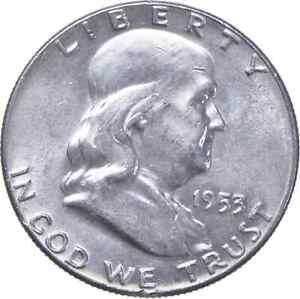 Choice Uncirculated BU MS 1953 Franklin Half Dollar 90% Silver Tough Coin! *711