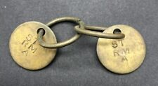 Vintage antique ship boat state room A key fob tag pair lot brass