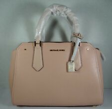 Michael Kors Hayes Pastel Pink Leather Large Satchel Crossbody Purse