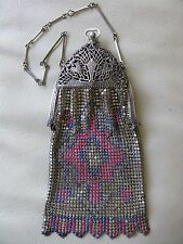 Antique Art Nouveau Filigree Frame Pink Cobalt Blue Enamel Chain Mail Purse W&D