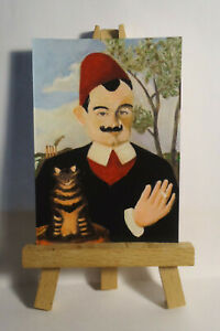 Portrait of Pierre Loti ACEO Original PAINTING by Ray Dicken a Henri Rousseau