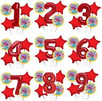 """Set of 5 Bouquet Trolls Poppy Balloons 34"""" Number Balloon Red"""