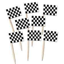 50 RACING CAR CHECKERED FLAG PICKS PARTY TABLE DECORATION ALICE IN WONDERLAND
