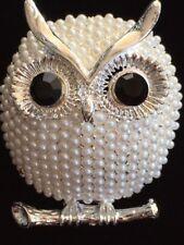 "Owl Bird Pin Brooch Jewelry 1.75"" 3D Silver White Pearl Omega Branch Hootie Hoot"