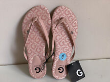 NEW! GUESS BAYLA PINK SILVER LOGO G RHINESTONES FLAT SANDALS SLIPPERS 6 36 SALE